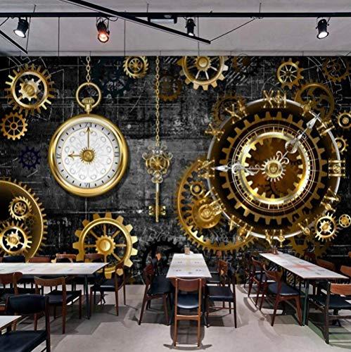 Behang niet stof van zijde 3D papier behang goud gear wandklokken retro restaurant cafe bar achtergrond papier wanddecoratie creatieve kunstdruk wanddecoratie 300 * 210