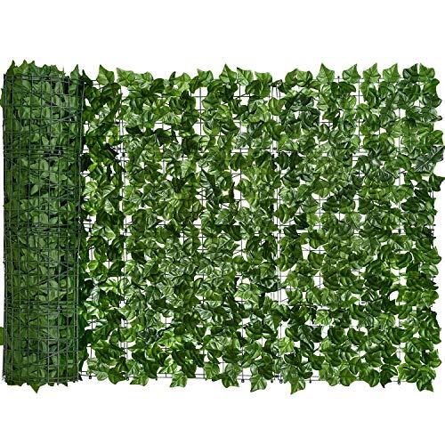 YQing Künstliche Efeu Garten Sichtschutz, Balkon Blätter Zäune Sichtschutz, Hecken Zaun und künstliche Efeu Blatt Dekoration für Außendekoration,1.5 x 2.5 Meter