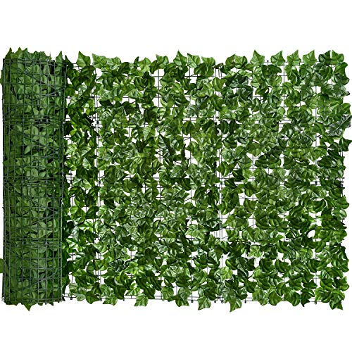 Artificial Ivy Privacy Fence Screen, DearHouse 94.5x39.4in Artificial Hedges Fence and Faux Ivy Vine Leaf Decoration for Outdoor Decor, Garden