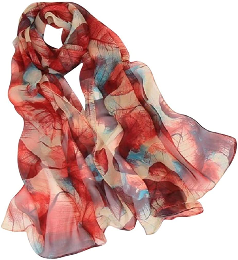 Sheer Floral Chiffon Scarves and Shawls for Adults