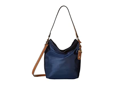 Tommy Hilfiger Julia Convertible Solid Nylon Hobo (Navy) Hobo Handbags