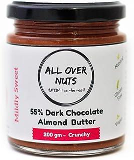 All Over Nuts 55 Dark Chocolate Almond Butter, 200 gm Crunchy (Gluten-free , Vegan)
