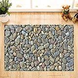 Kwboo Decoración Abstracta, alfombras de Piedra de Piedra del río de los guijarros de la Naturaleza, Alfombrillas de baño Antideslizantes del Piso del Felpudo Alfombra al Aire Libre Interior