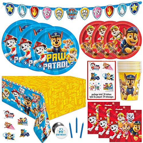 Paw Patrol Theme Birthday Party Supplies - Serves 16 Guests - Banner Decoration, Table Cover, Dinner and Cake Plates, Cups, Napkins, Tattoos, Button, Candles