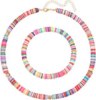 PHALIN Heishi Choker Necklaces Rainbow Bead Stretch Bracelets for Women Lightweight African Vinyl Disc Bead Surfer Necklac...