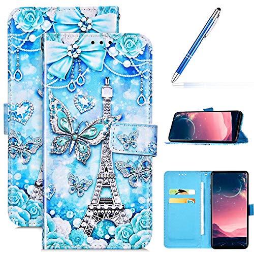 Kompatibel mit iPhone 11 Pro Leder Hülle Handytasche Handyhülle Bunt Motiv Muster Hülle Klappbar Schutzhülle Flip Wallet Case Brieftasche Leder Klapphülle Wallet Case Tasche,Schmetterling