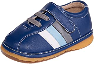 Navy Blue with White and Gray Stripes Toddler Boy Sneaker Squeaky Shoes