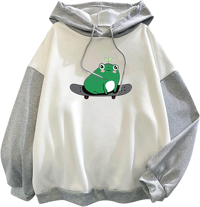 Hessimy Hoodies for Women, Women's Cute Sweatshirts Skateboarding Frog Long Sleeve Hoodie Pullover Tops
