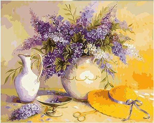 estar en gran demanda NGDDXTG Pintura Pintura Pintura de Lavanda por números Florero Abstracto Pintura al óleo sobre Lienzo Tipo Decoración para el hogar  comprar marca