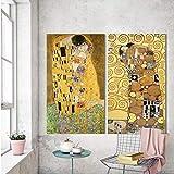 XWArtpic Wang Kunst golden Kiss Gustav Klimt gemälde Reproduktion auf Leinwand Gedruckt Ölgemälde schöne Frau Kunstwerk Wandbild 50 * 90 cm