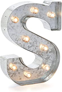 "Silver Metal Marquee Letter– S –Vintage-Style Lighted Marquee Letter with On/Off Switch, Ideal for Weddings, Special Events, and Room Décor, Galvanized Metal Finish, 9.87"" Tall"