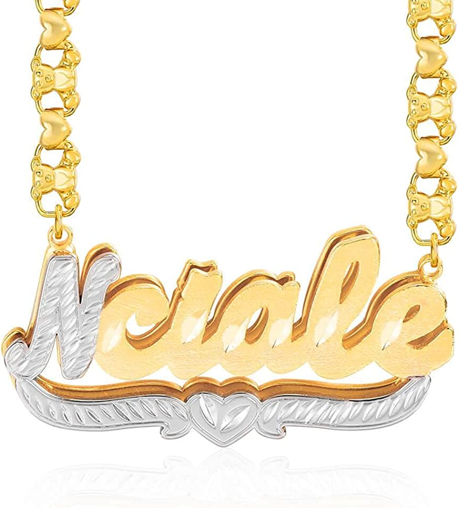 Cfustiy Double Plated Nameplate Necklace 18K Gold-Plated Personalized Custom Name Necklace with Heart Personalized Name Jewelry Two Tone Necklace with Letter Gifts for Women Girls