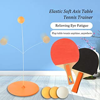 Volwco Table Tennis Trainer Elastic Shaft,Portable Table Tennis Set with 2 Racket & 3 Practice Ball for Self-Training/Leisure/Decompression/Kid Indoor Outdoor Play