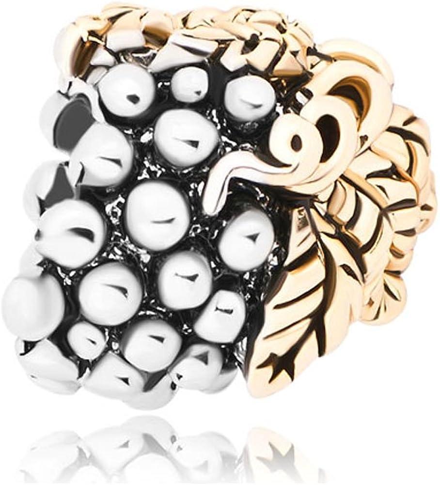 LovelyJewelry 14k Gold Plated Leaf Grape Charm Beads Charm Bracelets