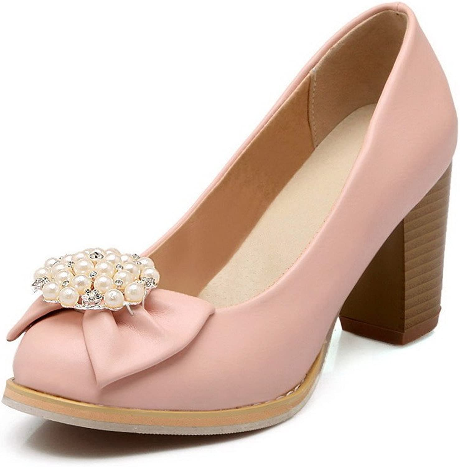 AmoonyFashion Women's Round Closed Toe High Heels Soft Material Solid Pull On Pumps-shoes