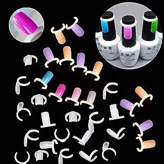 GBSTORE 50Pcs Nail Polish Color Display Card,Polish UV Gel Color Display Nail Art Ring Style False Nail Tips(Natural Color)