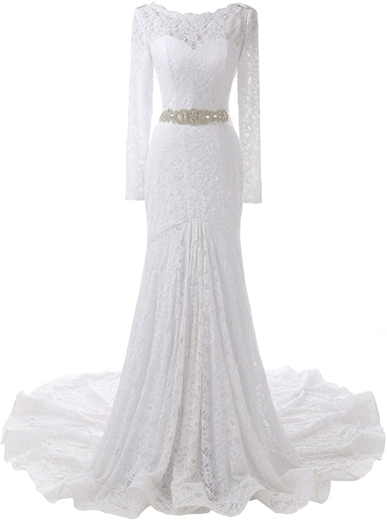 SOLOVEDRESS Women's Long Sleeves Lace Wedding Large-scale sale Mermaid Ranking TOP19 Dress Brid