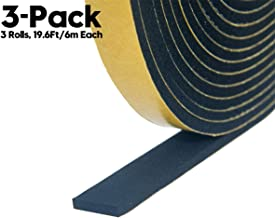 Adhesive Insulation Soundproofing Foam Tape, Weather Stripping for Doors and Window High Density Foam Seal Tape,Total 59 Feet Long (1/2 Inch Wide X 1/8 Inch Thick,3 Strips of 19.6 Ft Long Each)