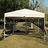 VIVOHOME 210D Oxford Outdoor Easy Pop Up Canopy Screen Party Tent with Mesh Side Walls Beige 10 x 10 ft