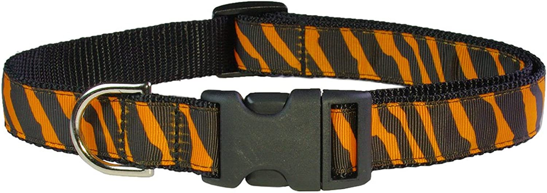 Sassy Dog Wear 1828Inch Tangerine Black Zebra Dog Collar, Large