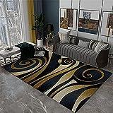 RUGMYW Respirable Alfombra del Piso Elementos Abstractos Amarillos Beige Negros alfombras Dormitorio pie de Cama 100X200cm