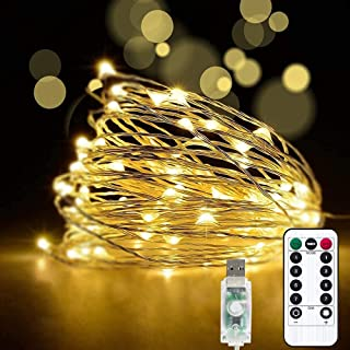 Teemyaa 33ft 100LED Fairy Lights, LED String Lights 8 Modes, Plug in Twinkle Lights USB Powered with Remote Control for Be...