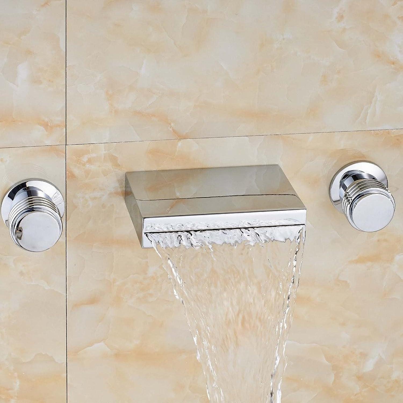 Zeitgenssische Wasserfall Square Auslauf chrom Wasserhahn tippen Sie auf Mischpult Dual Griffe