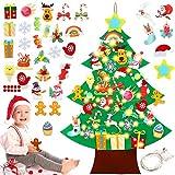 Sunshine smile Arbol de Navidad de Fieltro,Arbol de Navidad Calendario de adviento,arbol de Navidad de Fieltro DIY,Felt Christmas Tree,arbol de Fieltro Navidad Regalo para Niños (G)