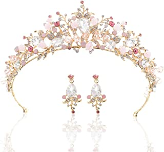 Asooll Bride Wedding Crown Baroque Queen Crowns and Tiaras Bridal Pink Pearl Jewelry Set with Earring for Women and Girls