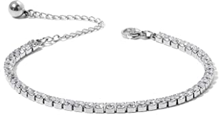 Shop LC Delivering Joy Eternity Bridal Wedding Engagement Tennis Bracelet for Women Jewelry Lady Gift Round Cubic Zirconia...