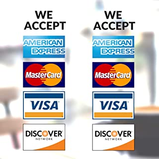 """Clear Credit Card Vinyl Sticker Decal - 2 Pack - We Accept - Visa, MasterCard, Amex and Discover - 9"""" x 4"""" Vinyl Decal for Window - Shop, Cafe, Office, Restaurant …"""