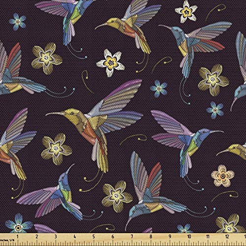 Lunarable Hummingbird Fabric by The Yard, Abstract Colorful Birds Flying with Flowers Tropical Vintage Style Illustration, Decorative Fabric for Upholstery and Home Accents, 2 Yards, Black Lilac
