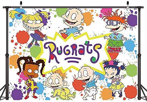 Rugrats Go Wild Theme Photography Backdrop Cartoon Graffiti Happy Birthday Party Decoration Baby Shower Cake Table Studio Props Photo Background 7X5ft