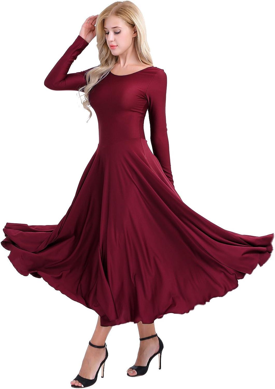 Agoky Womens Dance Dresses Long Sleeve Full Length Liturgical Praise Lyrical Church Worship Praisewear Loose Fit Dancewear