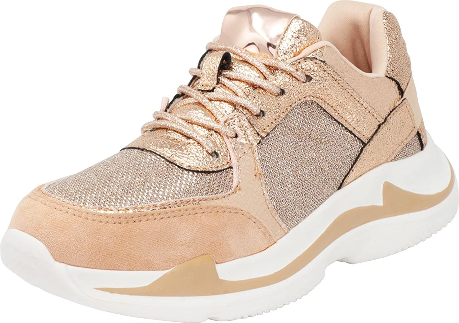 Cambridge Select Women's 90s Glitter Ugly Dad Lace-Up Fashion Sneaker