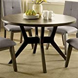Furniture of America Mecca Mid-Century Wood Round Dining Table in Gray