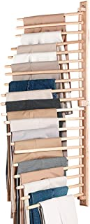 Collections Etc. Closet Organization Wall-Mount Pants Rack to Keep Pants Organized, Holds 20 Pairs of Pants, Brown