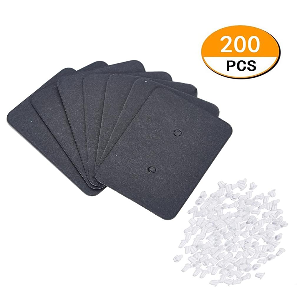 200 pcs Jewelry Earring Ear Stud Blank Kraft Craft Paper Display Cards Holder Earring Tags? Ear Stud Card (Black Rectangle)
