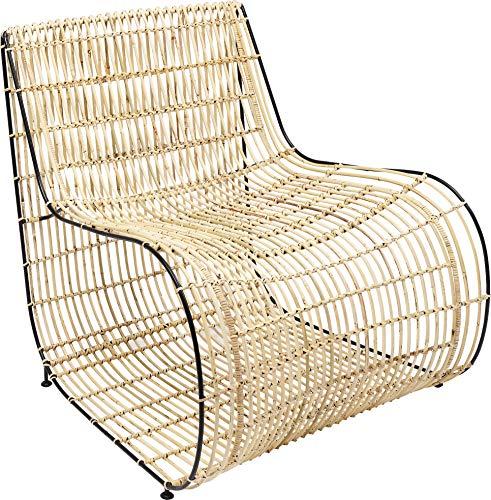 Kare Design Sessel Village Swing, Abgerundeter Rattansessel, Naturfarbener Sessel mit Metallgestell, (H/B/T) 79x76x81cm