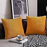 DEZENE Fundas de Cojín del Sofá Amarillo Dorado: 2 Paquetes de 50cmx50cm Fundas de Almohada Cuadradas de Terciopelo a Rayas Originales para la Decoración del Hogar del Dormitorio