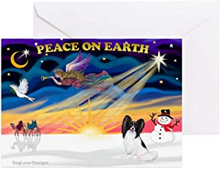 CafePress Xmassunrise/Papillon #1 Greeting Card (10-pack), Note Card with Blank Inside, Birthday Card Matte