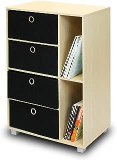 Furinno Multipurpose Storage Cabinet w/4 Bin Drawers, Steam Beech/Black