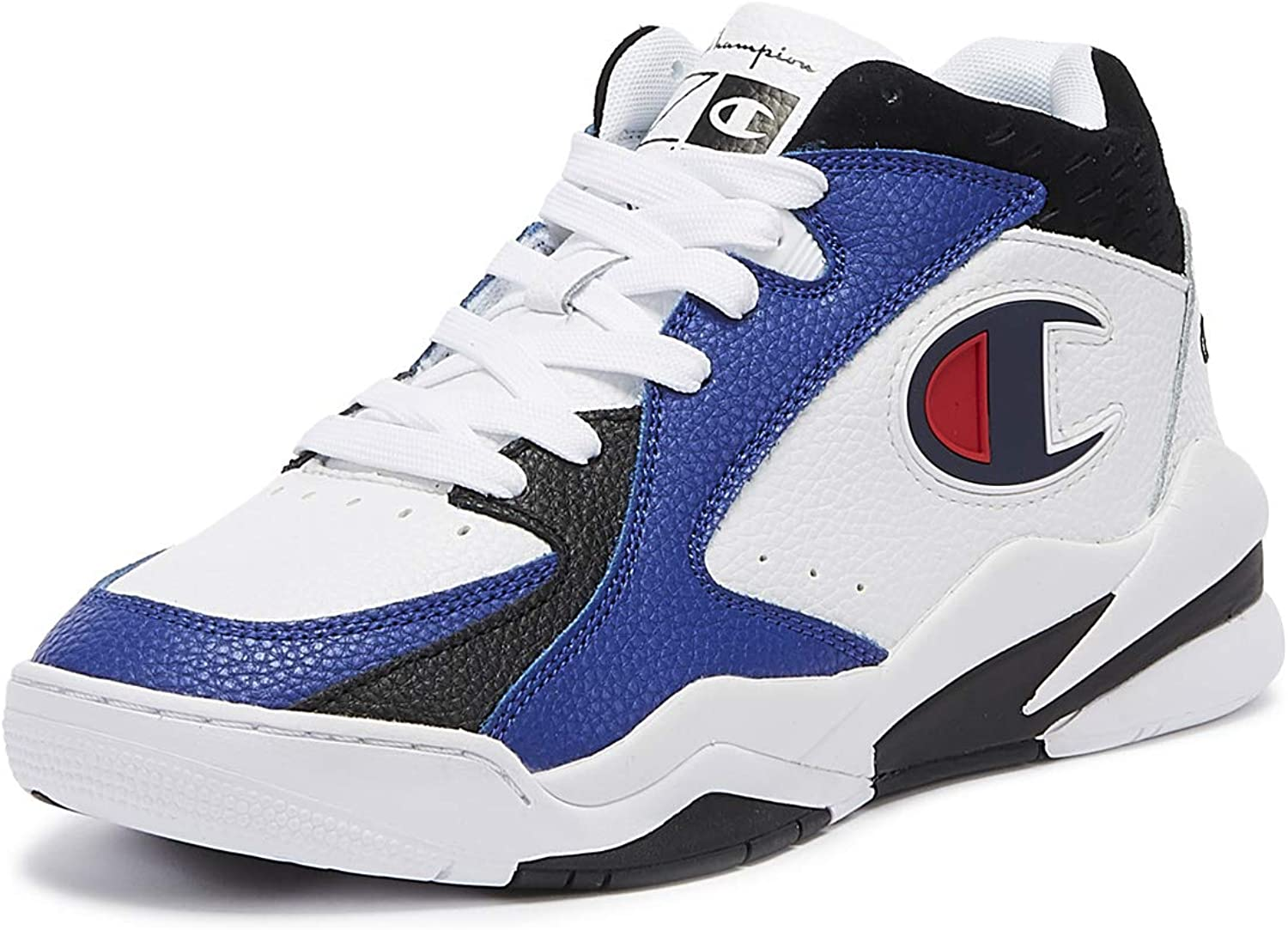 Champion Zone Mid Mens White Black Navy Sneakers