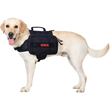 "OneTigris Dog Backpack for Hiking Nylon Dog Harness Backpack with Side Pockets for Large Dog with 22""-31.5"" Neck Girth and 29""-35.8"" Chest Girth"