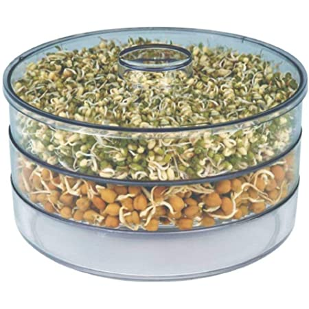 PAESANO Plastic Hygienic Sprout Maker with 3 Container Organic Home Making Fresh Sprouts Beans for Living Healthy Life Sprout Maker 3 Layer Bowl (Clear)