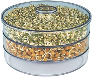 Sprout Maker with 3 Compartments for Multi Purpose Use - 1 L Plastic Grocery Container;Utility Box