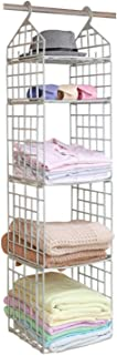 ZSPENG Plastic Hanging Closet Organizer, 5 Layers DIY Foldable Hanging Storage, Convenient Storage Space with Thin and Fold-able Design for Clothing, Sweaters, Towels, Pajamas and Hats, Blue
