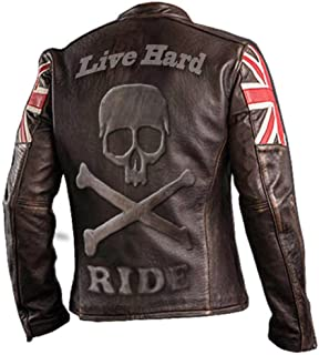 e-clothing UK Bandera Cráneo Chaqueta de Cuero Genuino Marron Oscuro