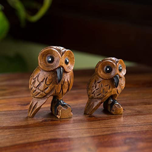 ExclusiveLane The Lounging Owls D cor Home D coration Living Room Hand Carved Hand Painted Curios Wooden Showpieces