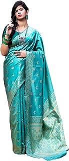 رداء حفلة هندي أزرق بناراسي منسوج من الحرير مصمم ساري عرقي ساري وخيوط ساري 6095